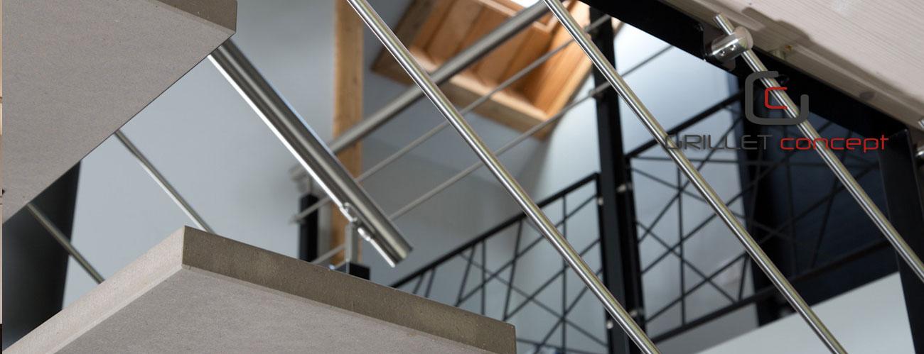 Escalier m tal bois verre garde corps portail exterieur for Escalier alu exterieur